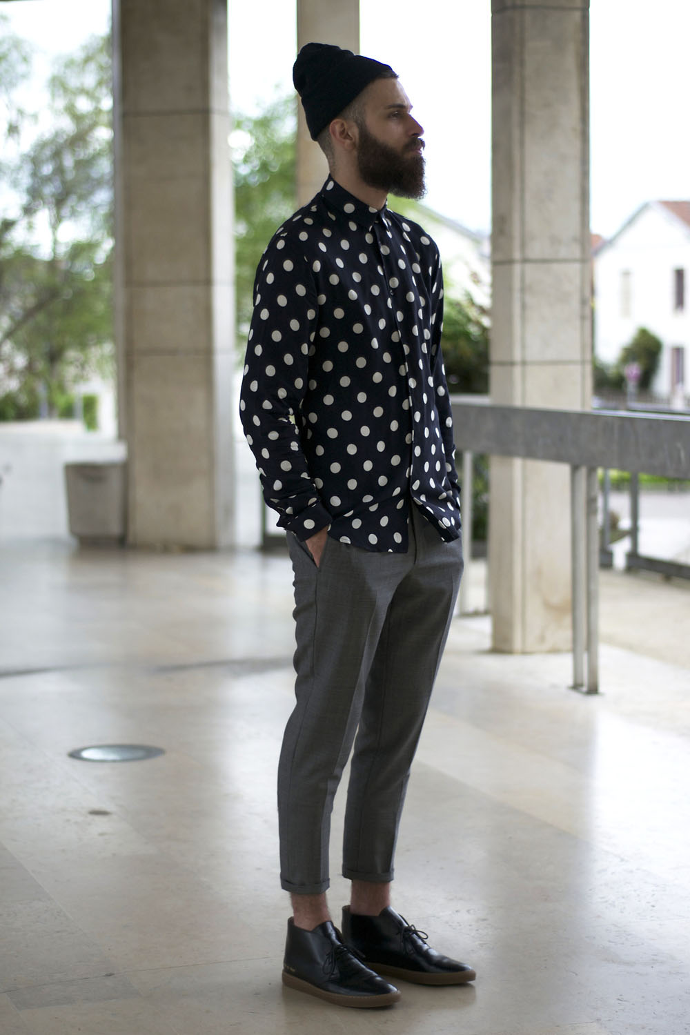 Polka Dot Long Sleeve Shirt for Men