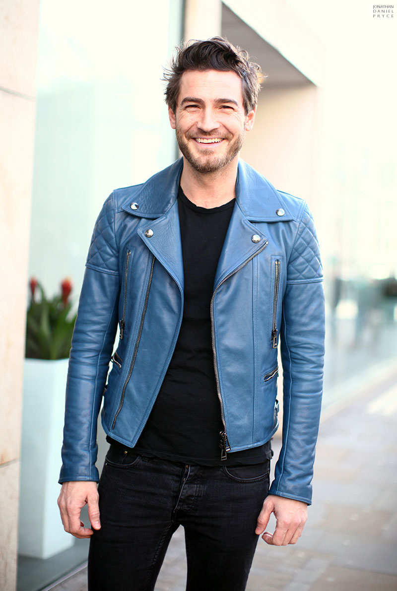 Robert Konjic Blue Leather Biker Jacket ACNE
