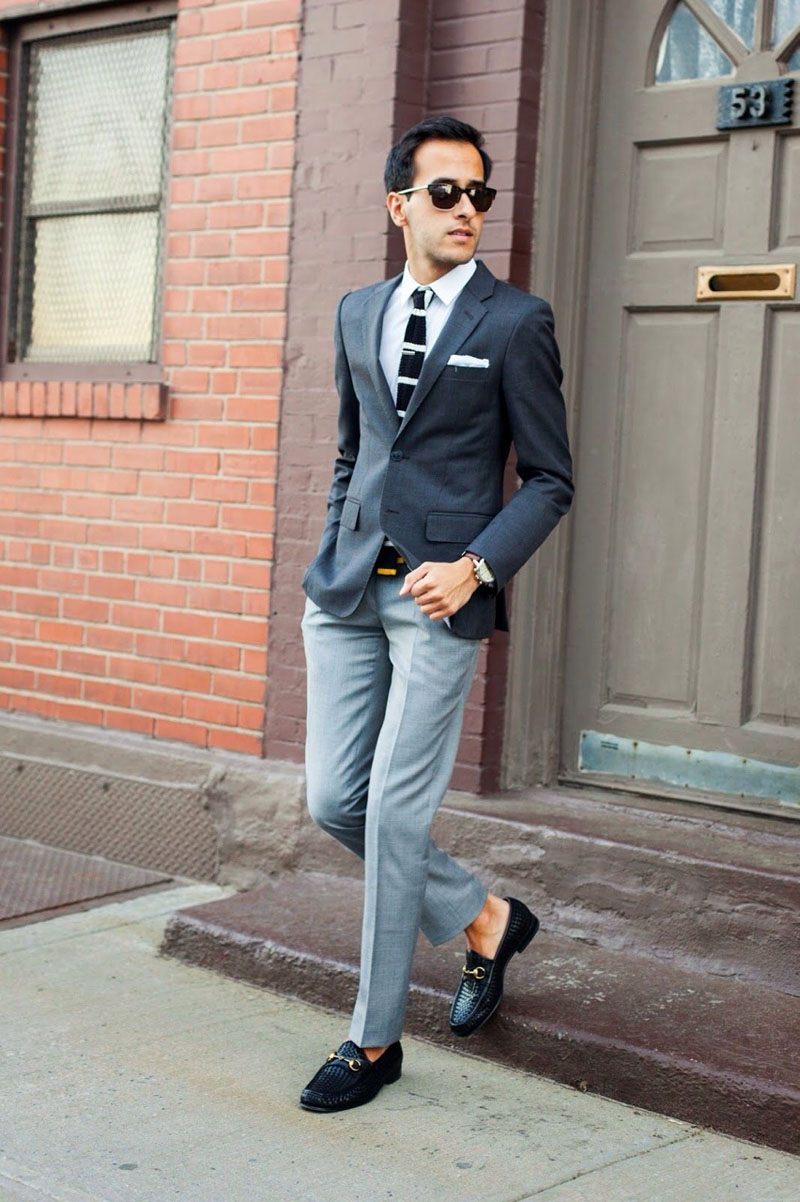 Textured Loafers × Mismatch Suit mens fashion