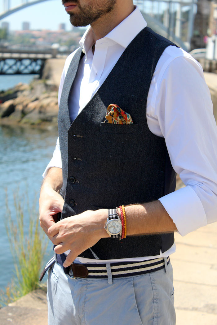 WIW Details: vest & pocket square in red paisley