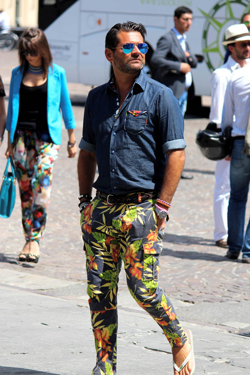 Blue Aviators x Colorful Floral Pants, menswear