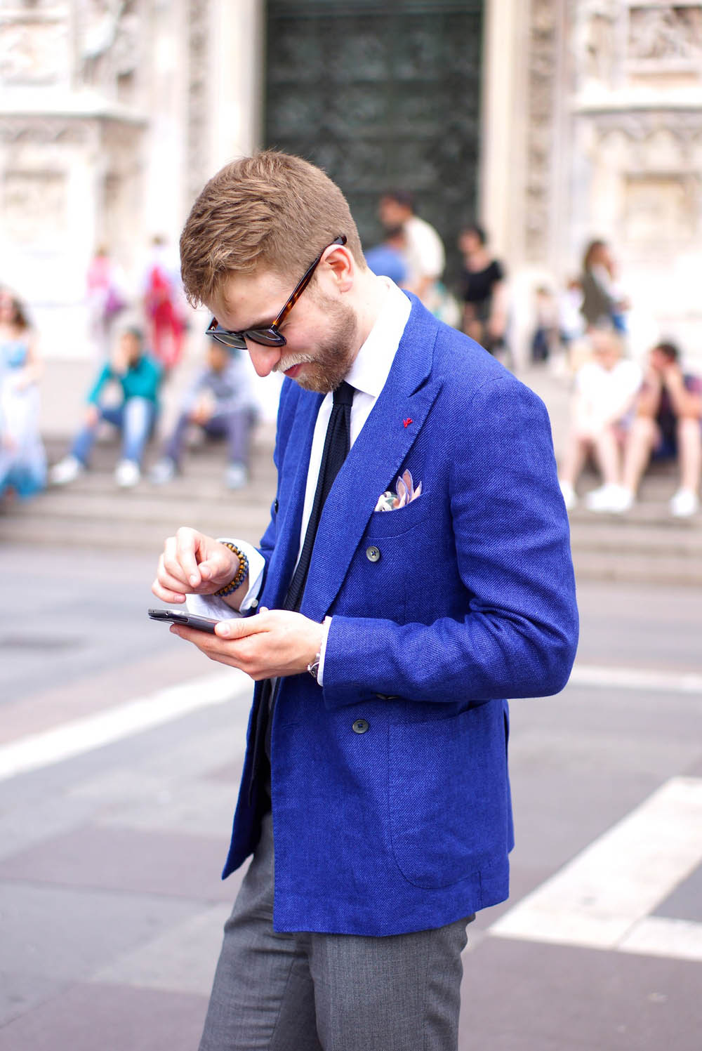 Blue Linen Tweed Suit mens fashion streetwear