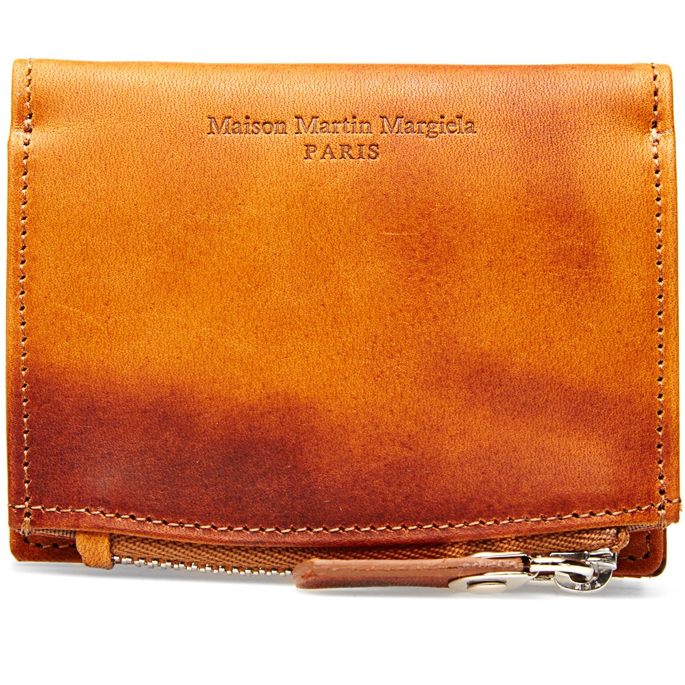 Burnished Leather Pouch Wallet Maison Martin