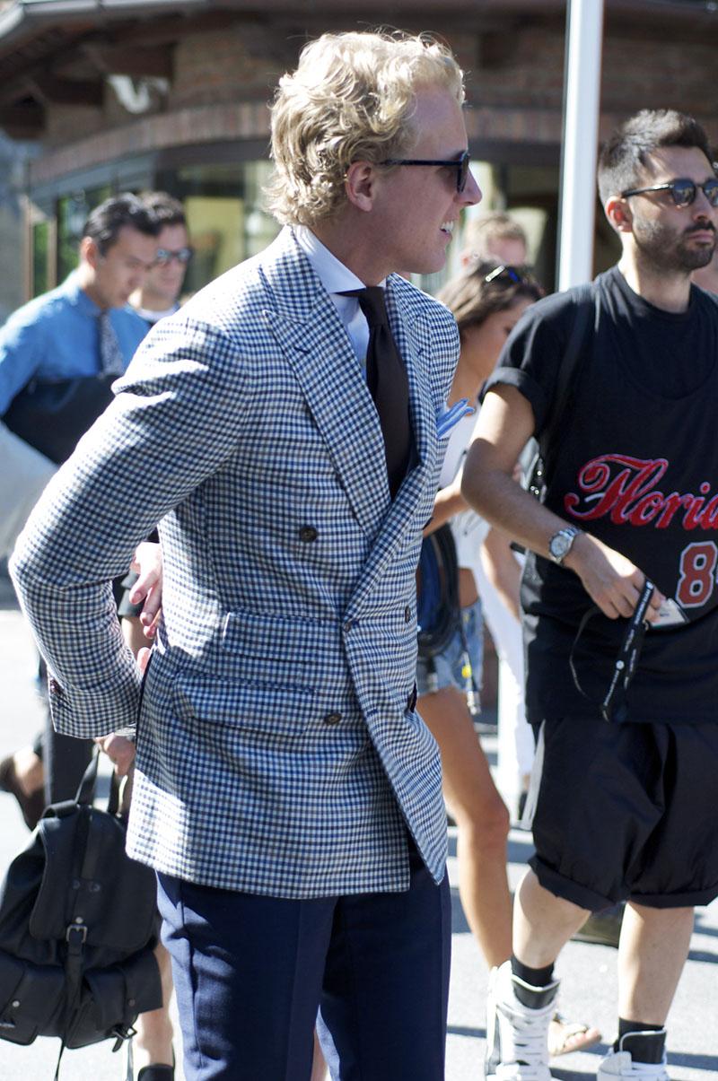 Double Breasted Gingham Suit Jacket, peak lapels + black tie & cutaway