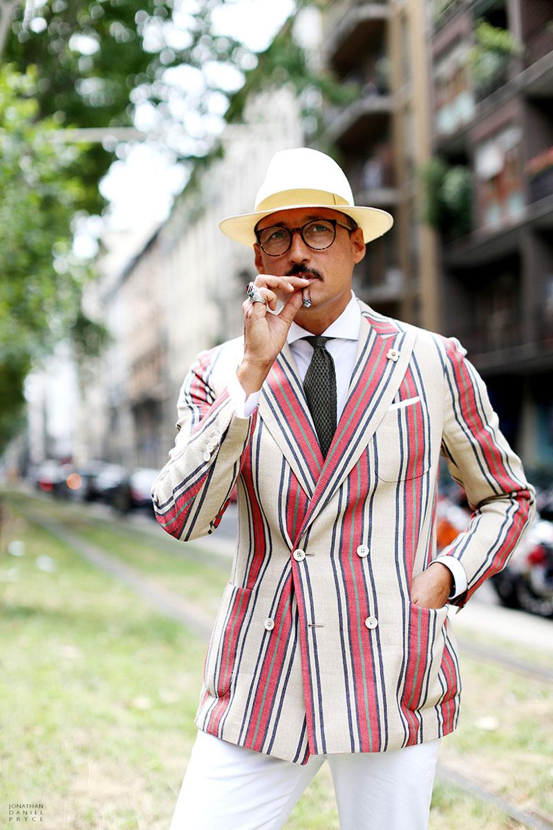 Fabrizio Orani wearing a Candy Cane Suit Jacket in Milan