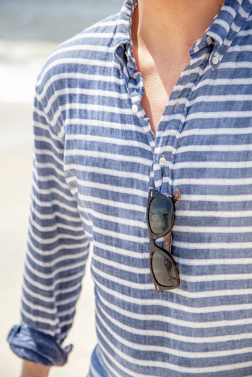 Faded Stripe Shirt Summer Menswear Lookbook