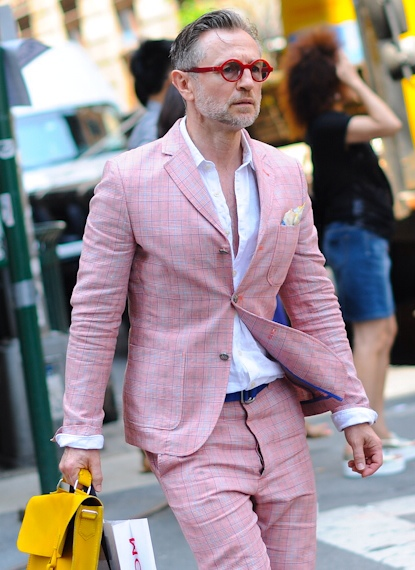 French Lilac Suit in Plaid, menswear