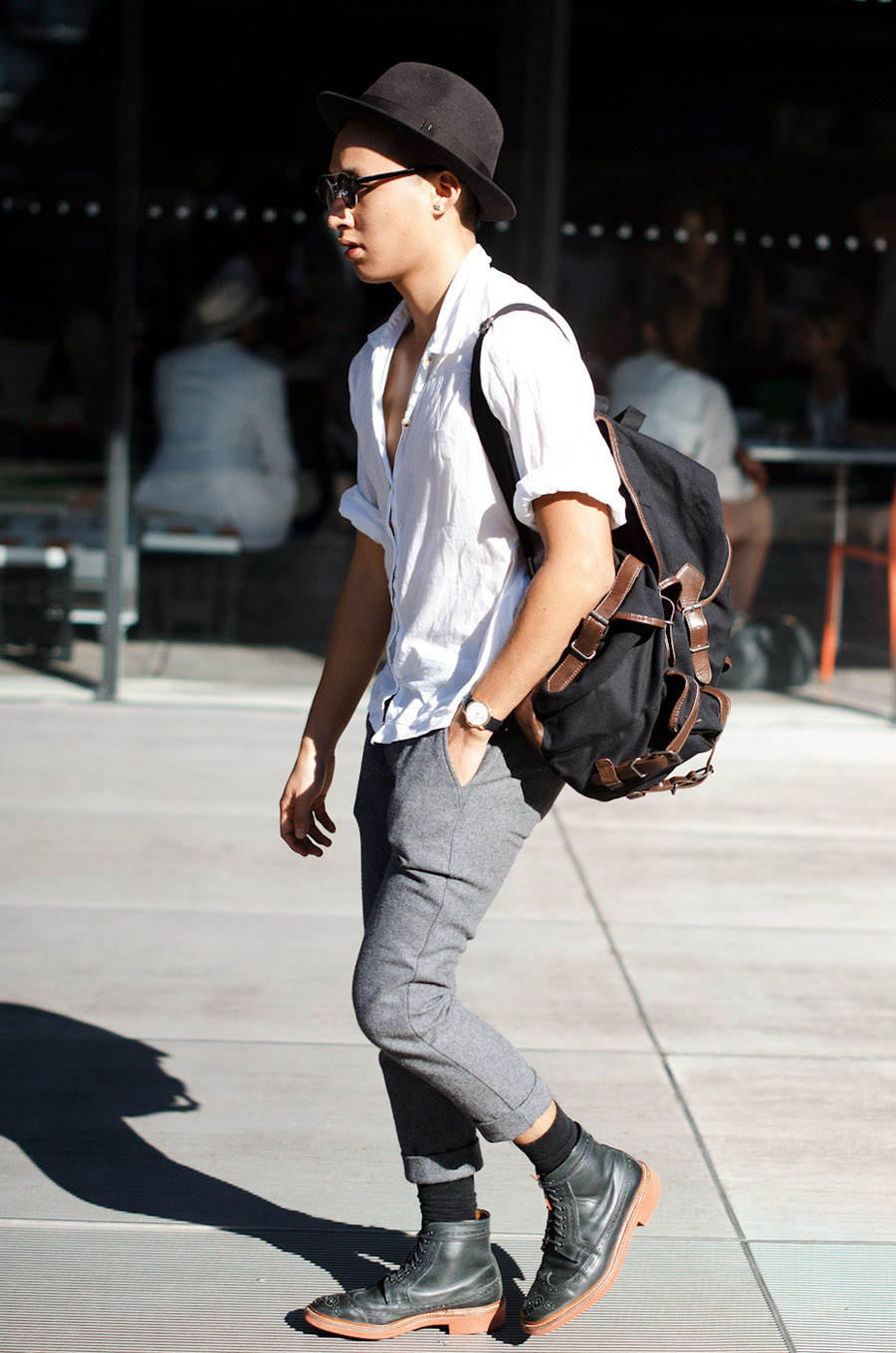Hi Top Brogues summer white button-up streetstyle