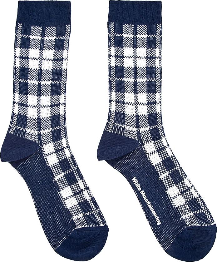 Navy & White Plaid Socks, White Mountaineering