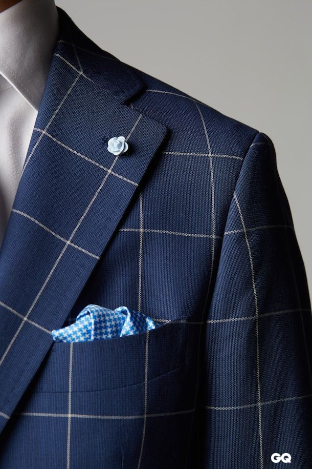 Navy Windowpane × Blue Houndstooth GQ