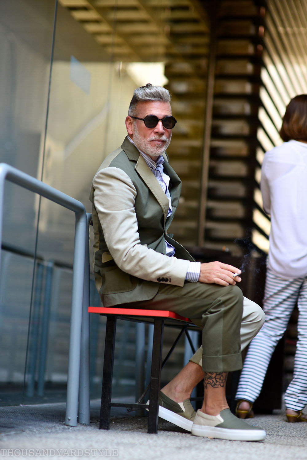 Nick Wooster Wearing Lardini Street Fashion