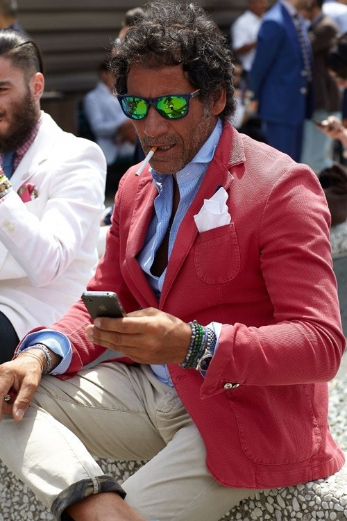 Red Blazer x Bracelets, scruff men's fashion