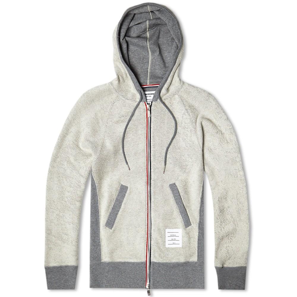 Thom Browne Contrast Zip Up Hoodie