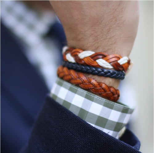 Woven Leather Color Bracelets men's fashion