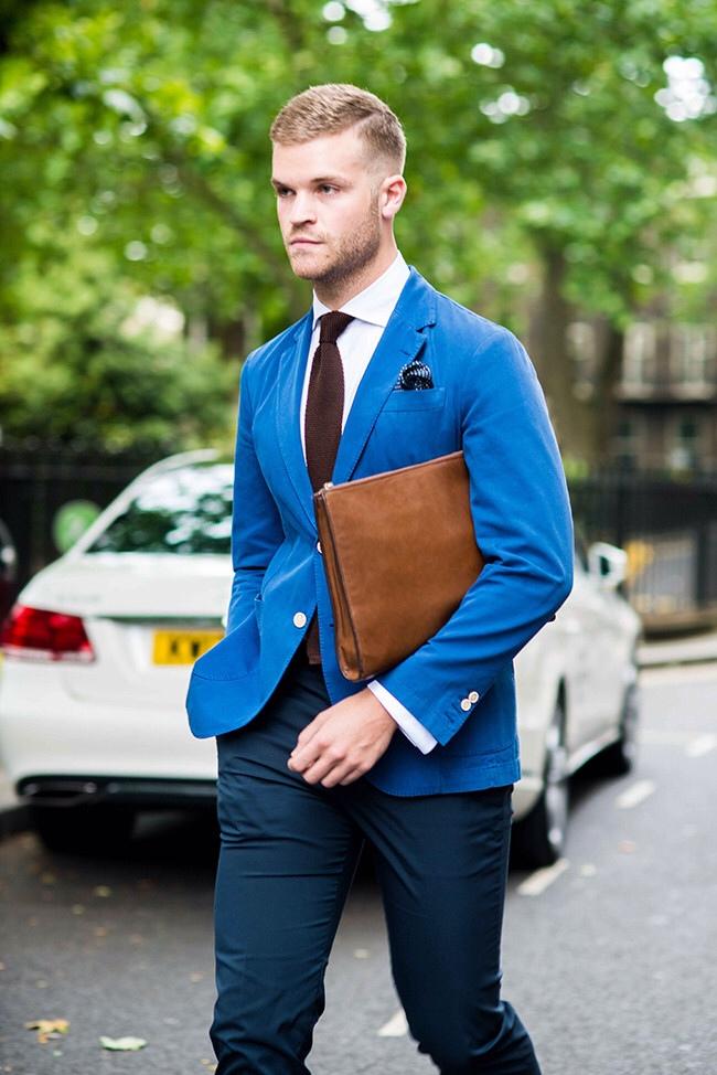 Blue × Brown Menswear, unstructured contrast button blazer