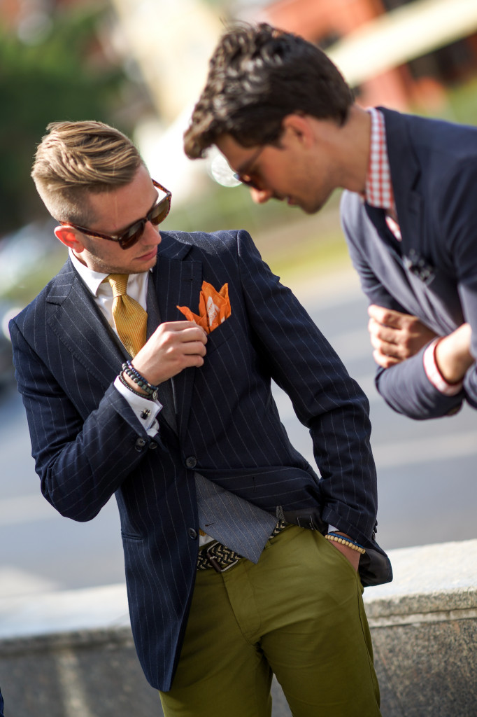 Fixing the Pocket Square orange bracelets woven multi-belt