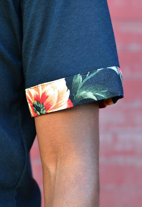 Floral Cuff Short Sleeve Tee #streetstyle