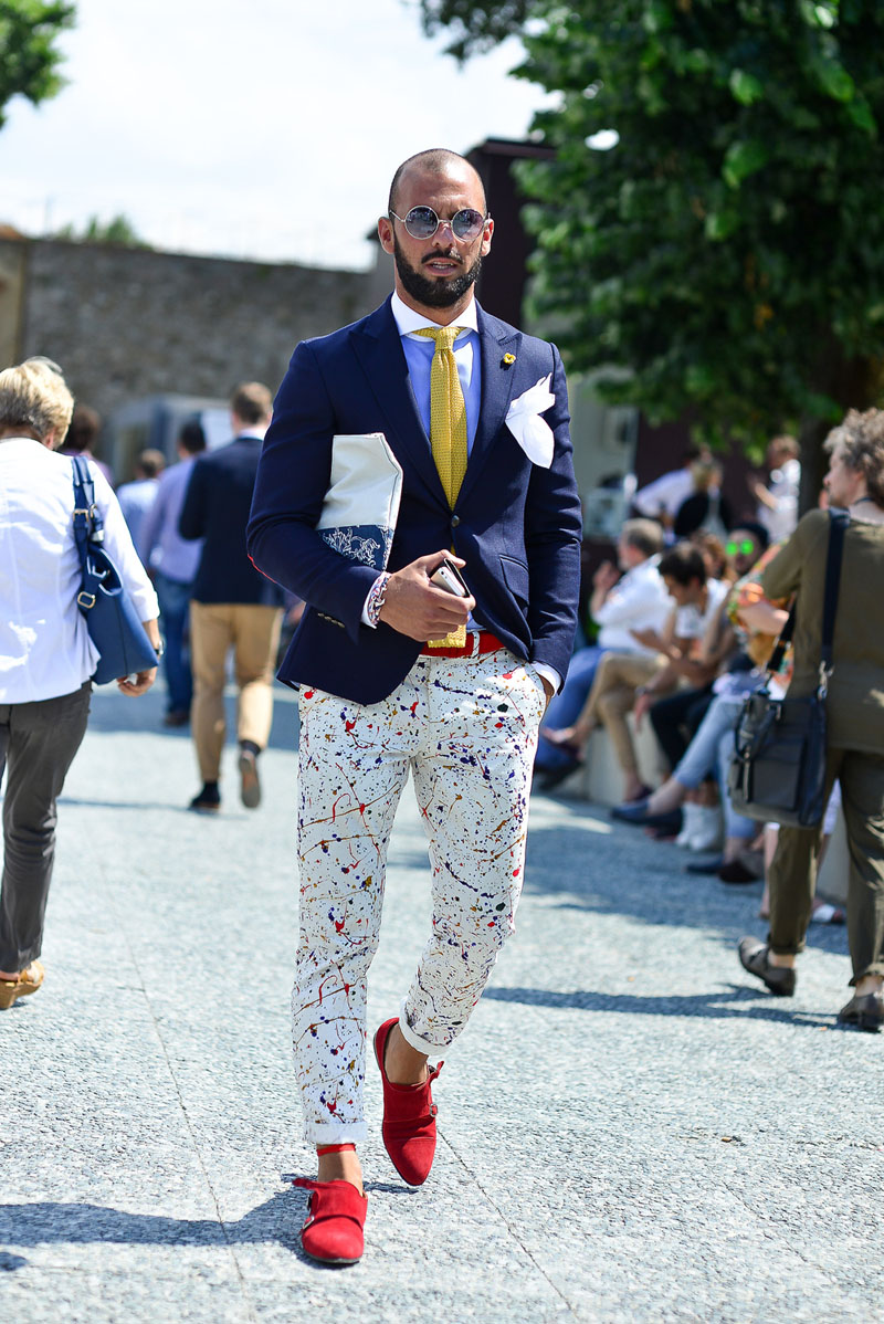 Painter's Touch: trousers with gold knit tie & blazer + winchester cutaway