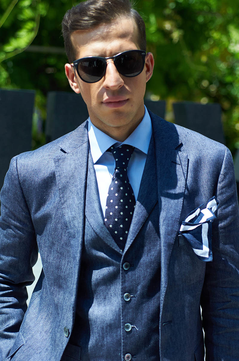 Three Piece Chambray Suit