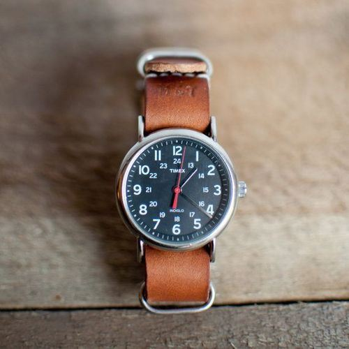 Timex Weekender with Brown Leather Strap
