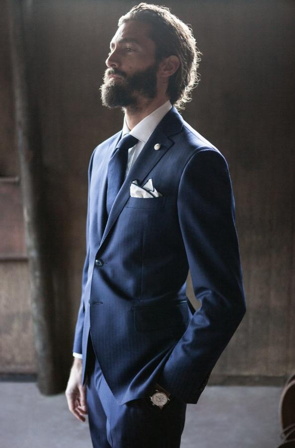 Beard × Lubiam menswear suit style
