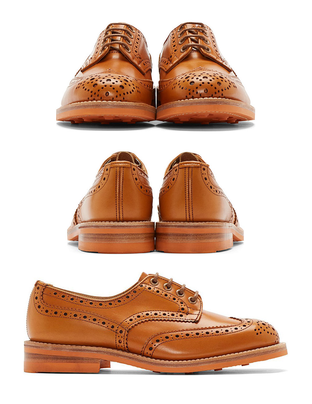 Beige Shortwing Brogue, Tricker's x Junya Watanabe three angles