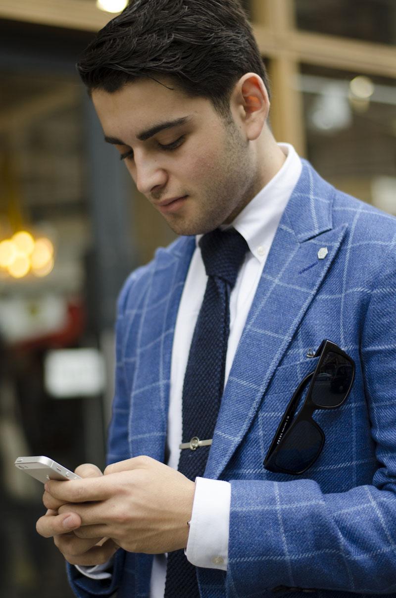 Big Blue Checks windowpane suit knit navy tie london menswear