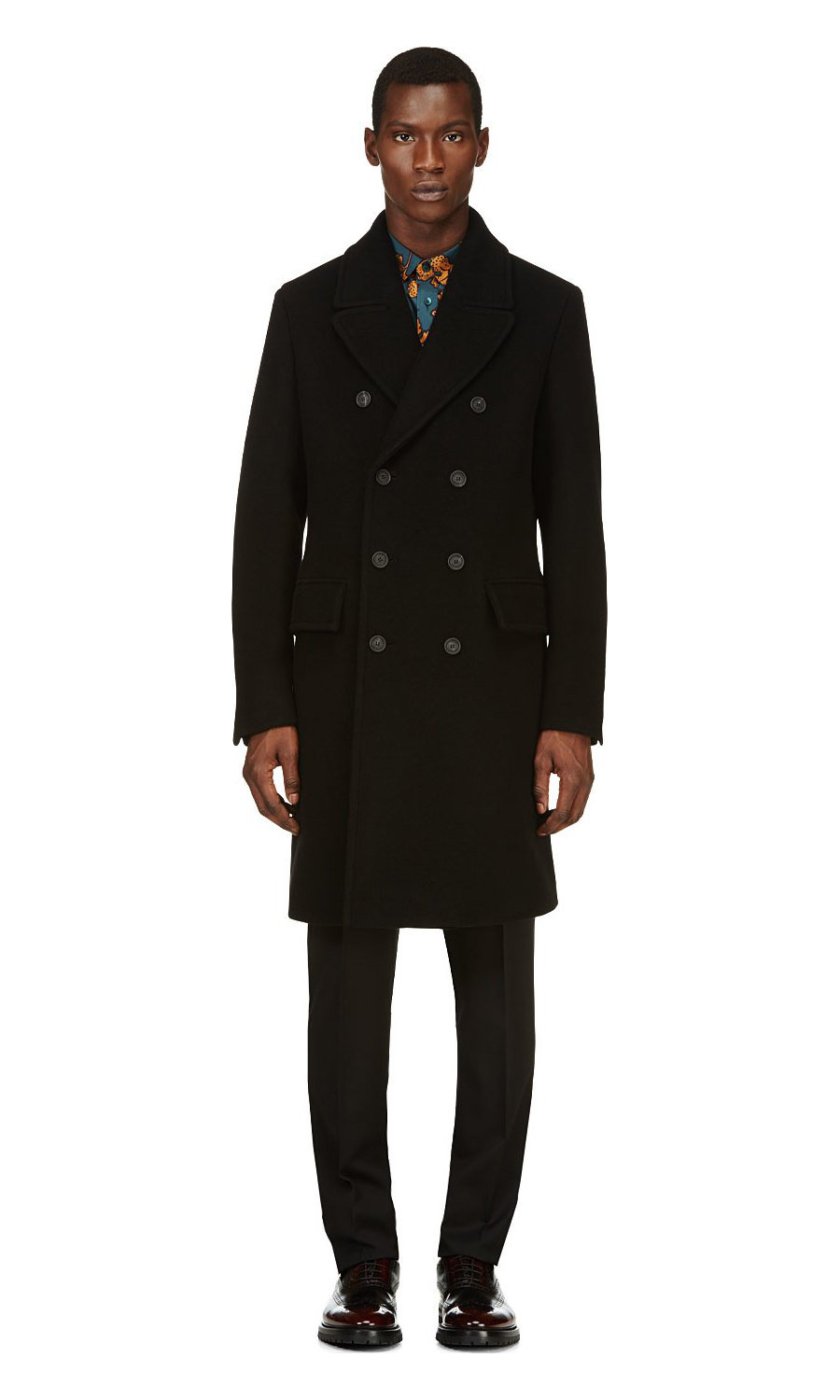 Black Wool & Cashmere Officer Coat, Burberry menswear