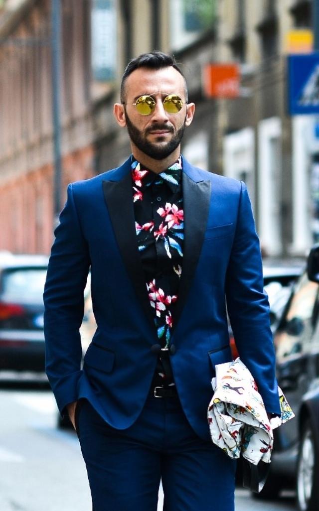 Contrast Lapel Tux & Black Floral Shirt #streetstyle