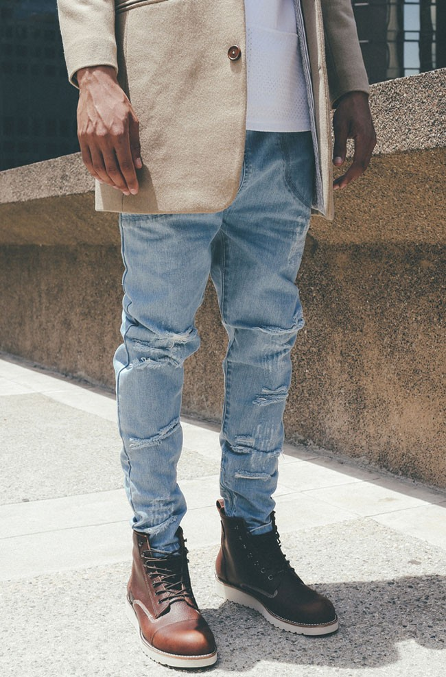 I Love Ugly LB Jeans in Brown Boots, Beige Coat