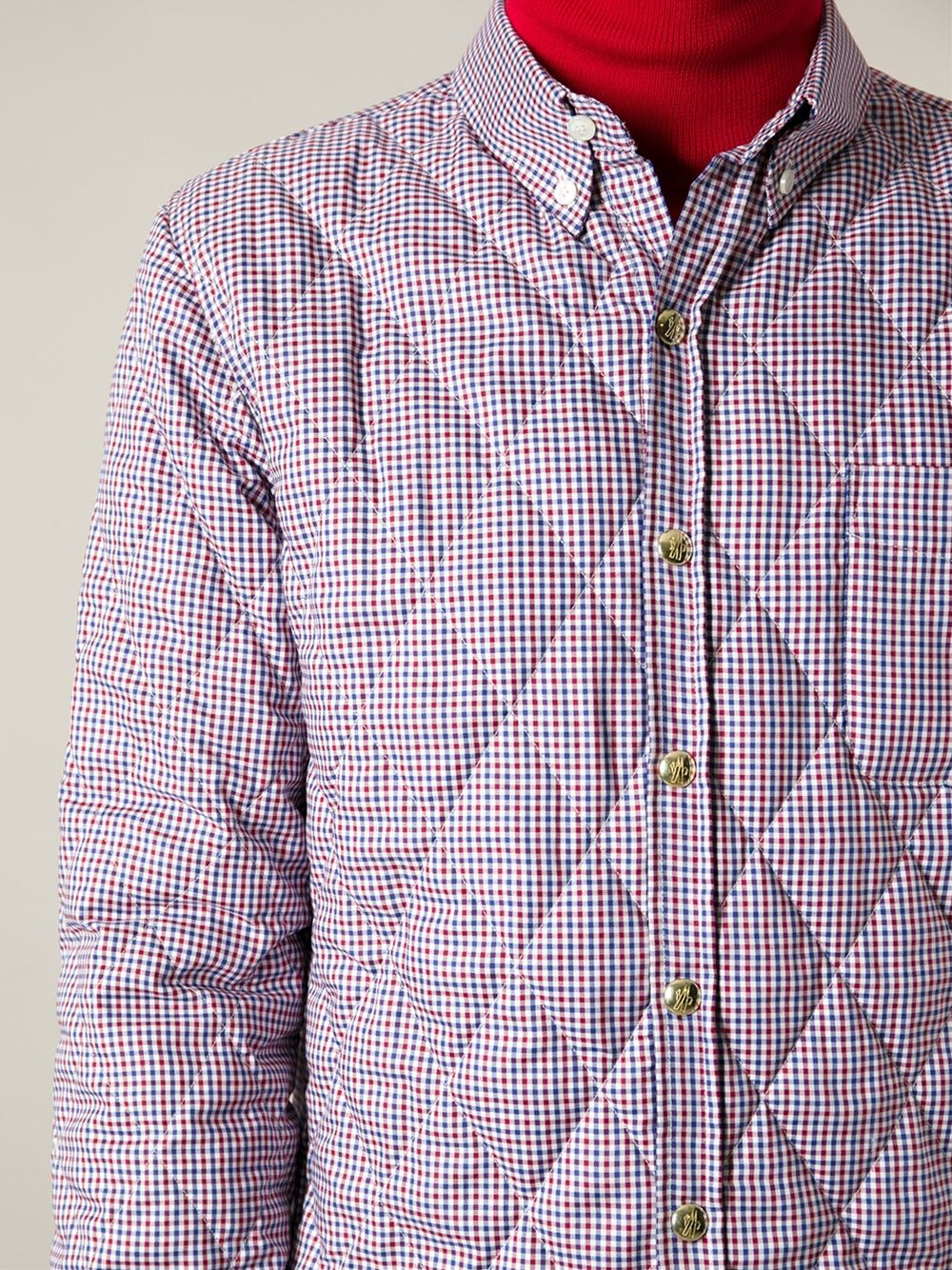 Quilted Buttondown Check Shirt blue & red