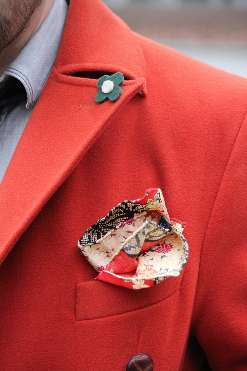 Red Coat x Pocket Square Details #menswear
