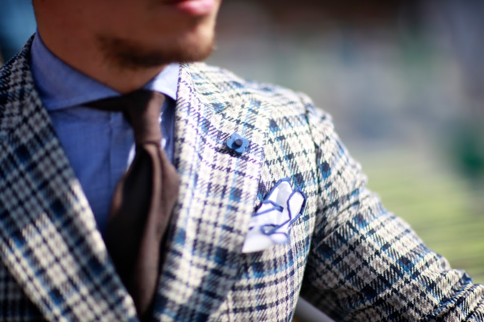 Unlined Checked Blazer, Lardini