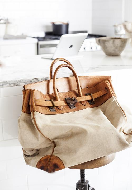 Weekender Bag in cream canvas & distressed tan leather