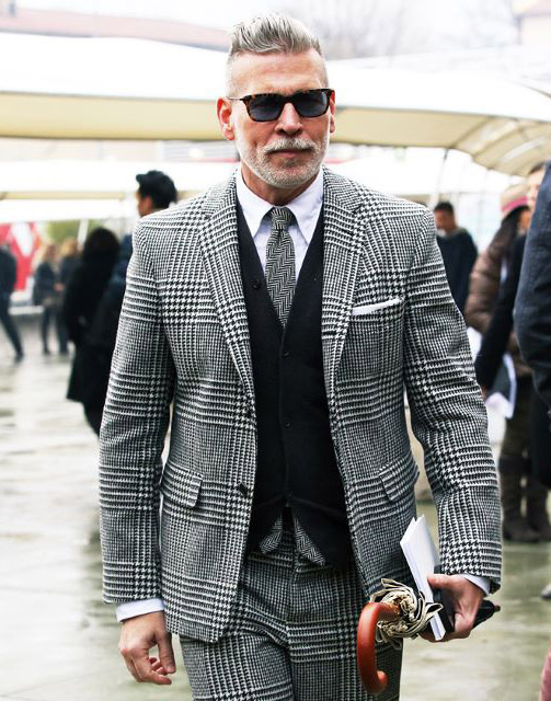 Who Makes Nick Wooster's black and white Plaid Suit?