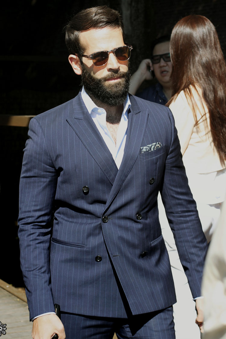 Beard × Pinstripes Suit and sunglasses menswear