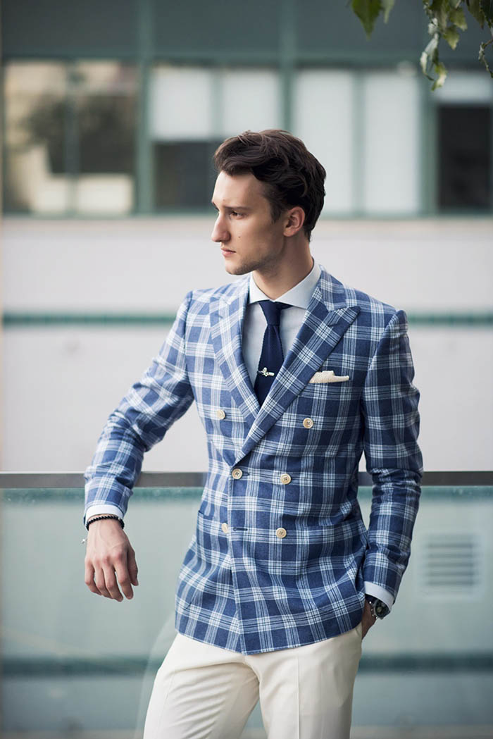 Blue Blanket Plaid Suit Jacket x Beige Pants, dapper menswear