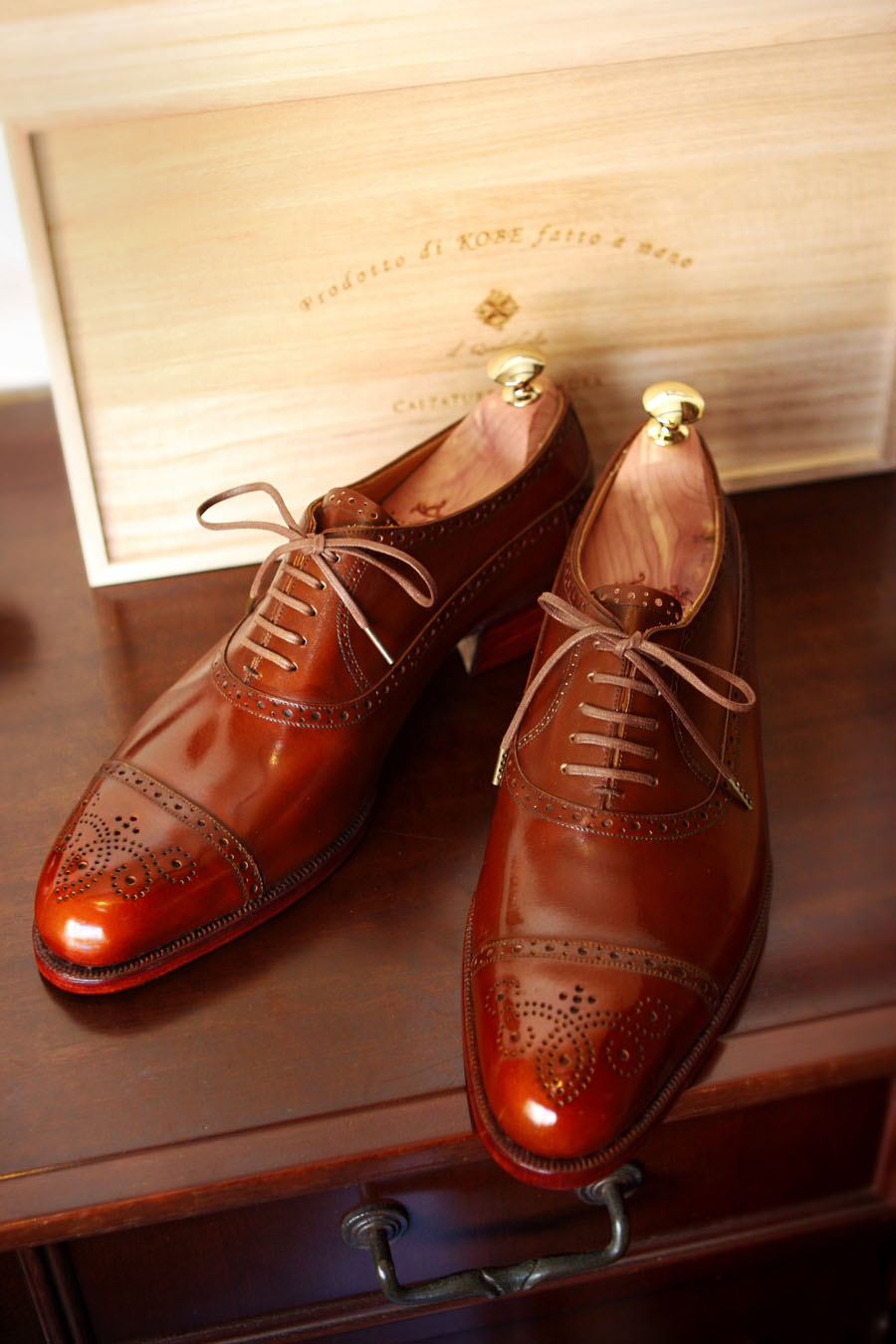 il Quadrifoglio Cap Toe Brogue brown leather oxford