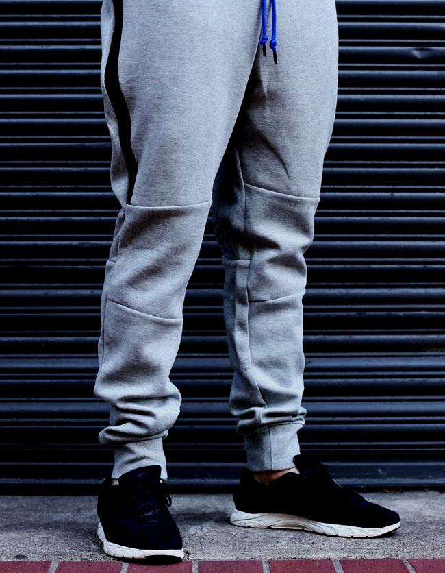 3d85414dd6cb Nike Tech Pants Heather Grey Fleece black strip