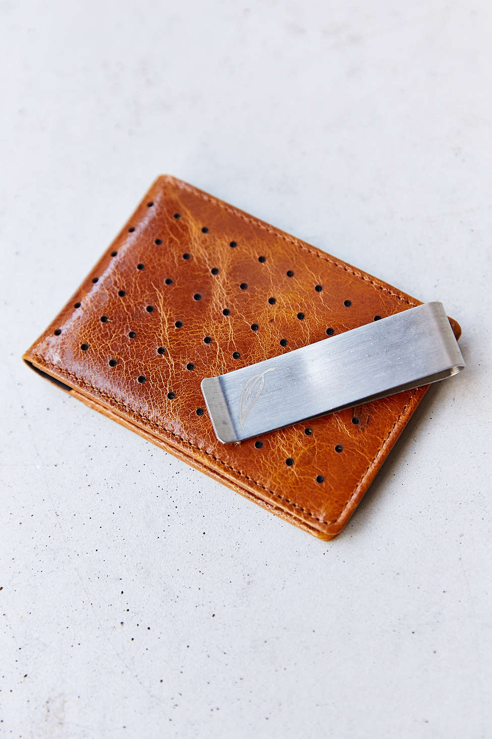 Perforated Leather Wallet in Honey, Orchill Concord