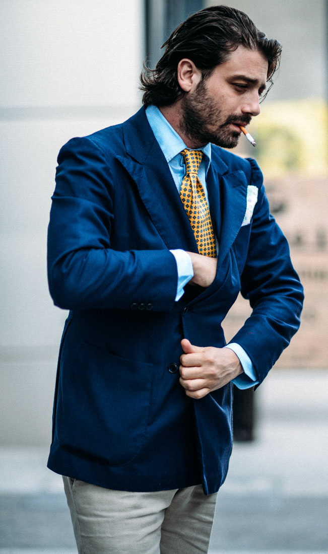 Reachin' Dark Blue Jacket x Gold Tie #menswear