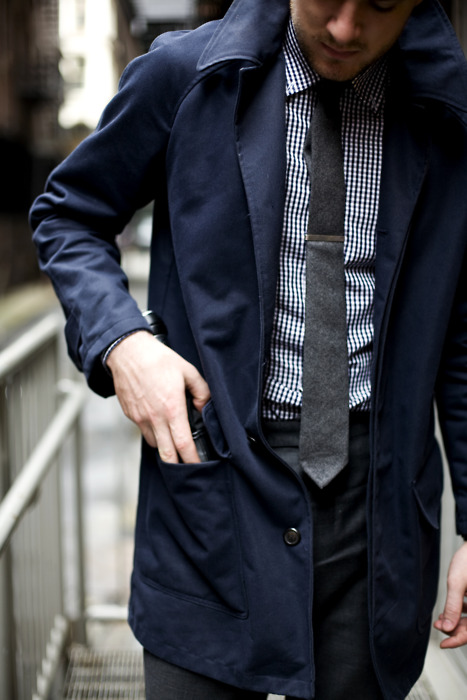 Nice Outfit Men's Navy Trench Coat