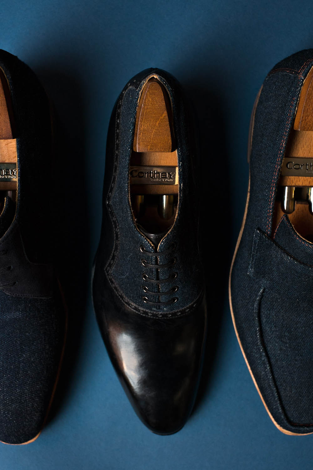 Pierre Corthay Denim Leather Oxford
