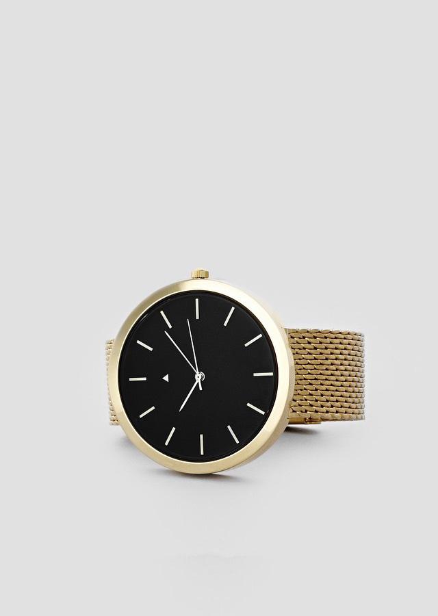 i love ugly Gold Milanese Bracelet Watch