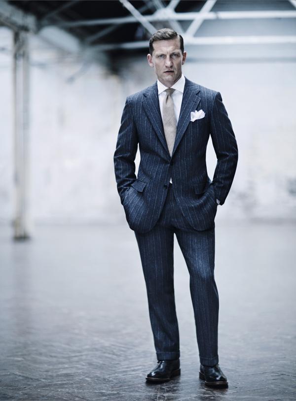 Kiton Pinstripe Blue Suit
