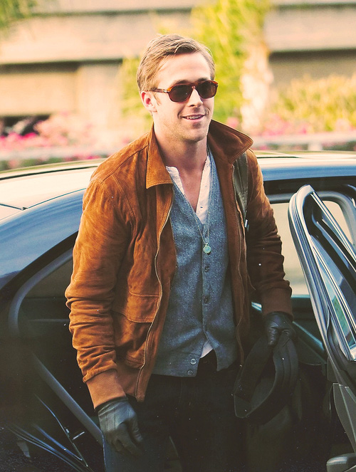 Ryan Gosling Leather Gloves back seat drive style