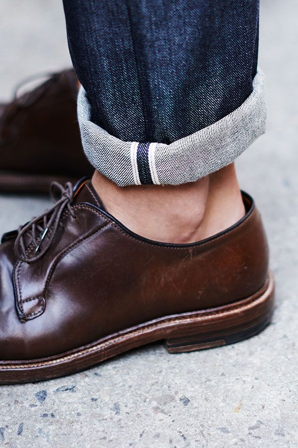 G-Star RAW Selvedge Denim and brown leather shoes
