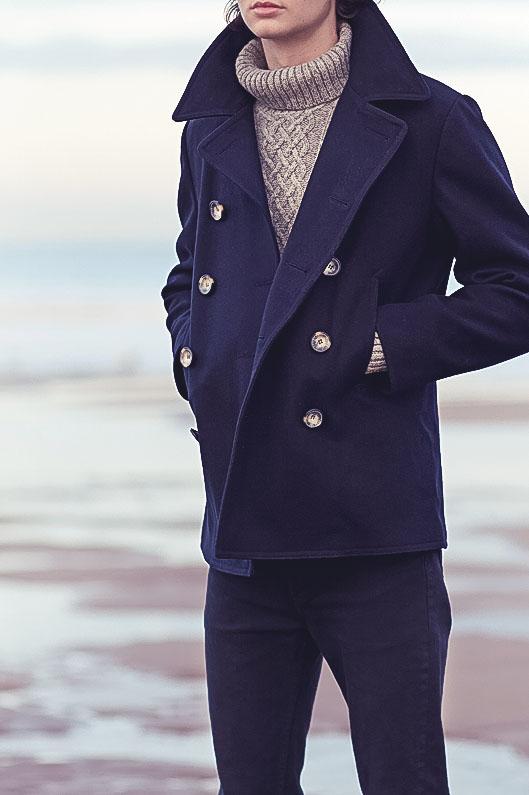 Journal Standard Navy Wool Melton Pea Coat | SOLETOPIA