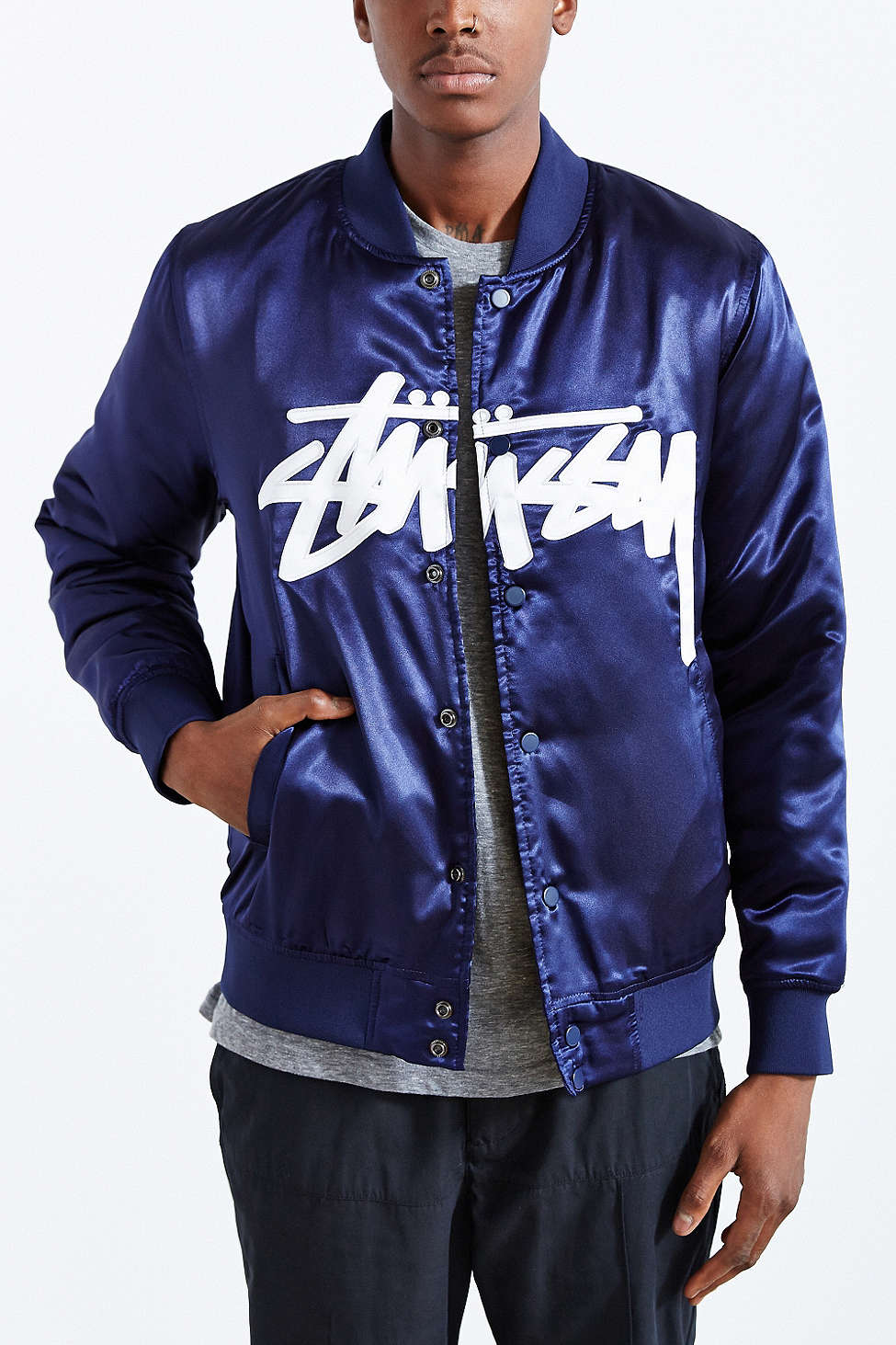 STUSSY Stock Satin Varsity Jacket