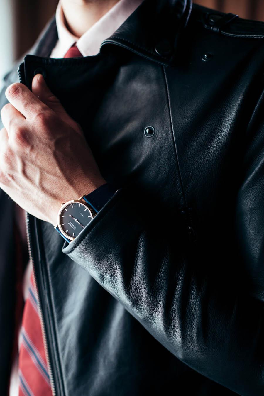 SHORE Watch × Leather Jacket × Tie